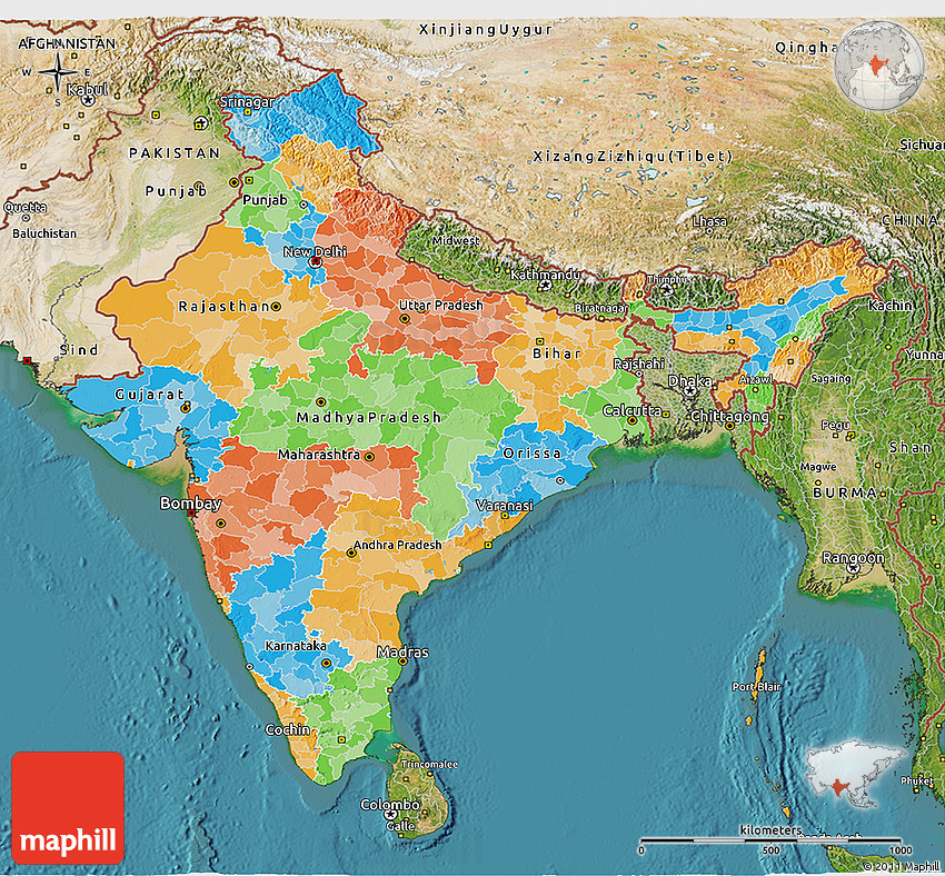 Sattlite Map Of India.Political 3d Map Of India Satellite Outside