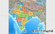 Political 3D Map of India, semi-desaturated, land only