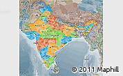 Political 3D Map of India, semi-desaturated