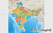 Political 3D Map of India, shaded relief outside, bathymetry sea