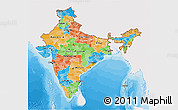 Political 3D Map of India, single color outside