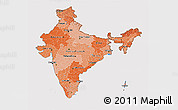 Political Shades 3D Map of India, cropped outside