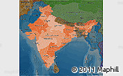 Political Shades 3D Map of India, darken