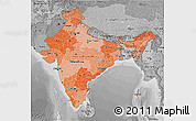 Political Shades 3D Map of India, desaturated
