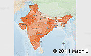 Political Shades 3D Map of India, lighten