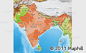 Political Shades 3D Map of India, physical outside