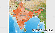 Political Shades 3D Map of India, satellite outside, bathymetry sea