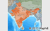 Political Shades 3D Map of India, semi-desaturated, land only