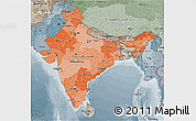 Political Shades 3D Map of India, semi-desaturated