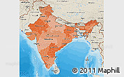 Political Shades 3D Map of India, shaded relief outside, bathymetry sea