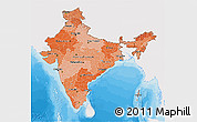 Political Shades 3D Map of India, single color outside
