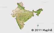 Satellite 3D Map of India, cropped outside