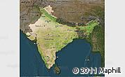 Satellite 3D Map of India, darken