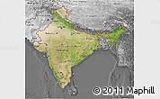 Satellite 3D Map of India, desaturated