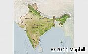 Satellite 3D Map of India, lighten