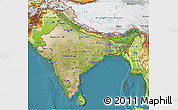 Satellite 3D Map of India, physical outside, satellite sea