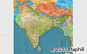 Satellite 3D Map of India, political outside, satellite sea