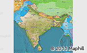 Satellite 3D Map of India, political shades outside, satellite sea