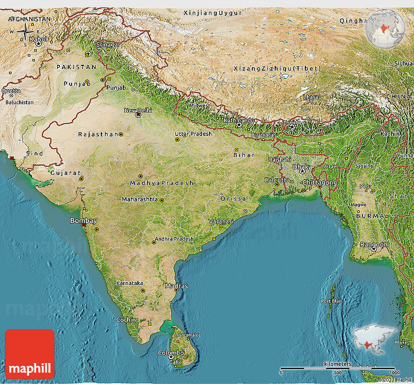 Setelight Map Of India.Satellite 3d Map Of India