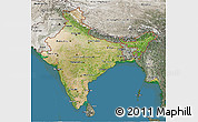 Satellite 3D Map of India, semi-desaturated, land only