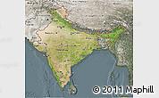 Satellite 3D Map of India, semi-desaturated
