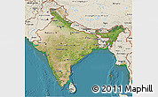 Satellite 3D Map of India, shaded relief outside, satellite sea