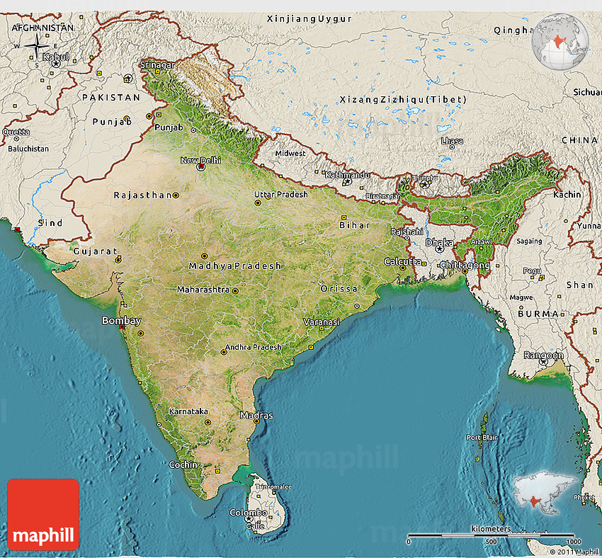 Satellite 3d Map Of India Shaded Relief Outside Satellite Sea