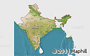 Satellite 3D Map of India, single color outside