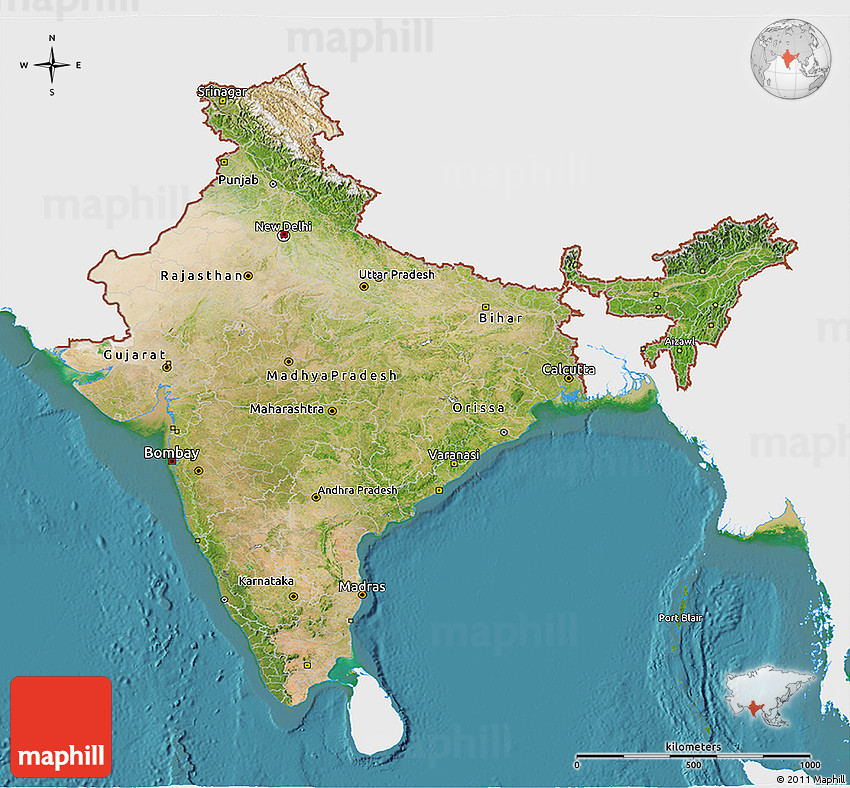 Satellite 3d map of india single color outside gumiabroncs Choice Image