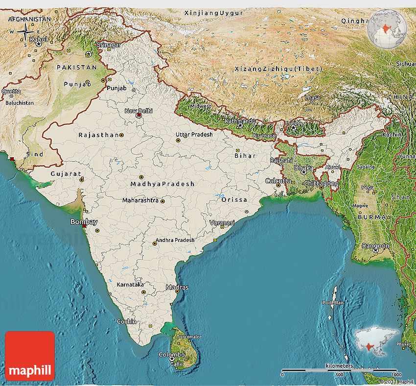 Shaded Relief 3d Map Of India Satellite Outside