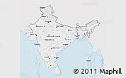 Silver Style 3D Map of India, single color outside