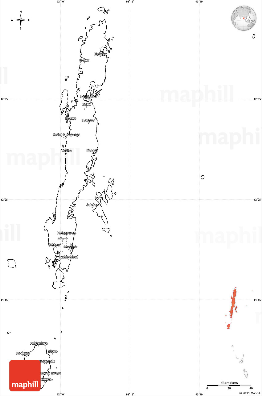 blank simple map of andaman islands