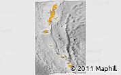 Political Shades Panoramic Map of Andaman & Nicobar, desaturated