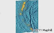 Political Shades Panoramic Map of Andaman & Nicobar, satellite outside