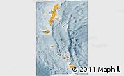 Political Shades Panoramic Map of Andaman & Nicobar, semi-desaturated