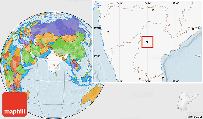Where Is Hyderabad Located In India Map.Political Location Map Of Hyderabad Highlighted Country
