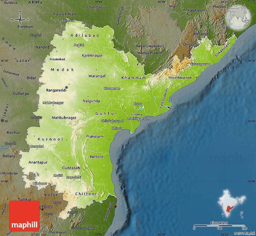 Physical Map of Andhra Pradesh, darken