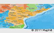 Political Shades Panoramic Map of Andhra Pradesh