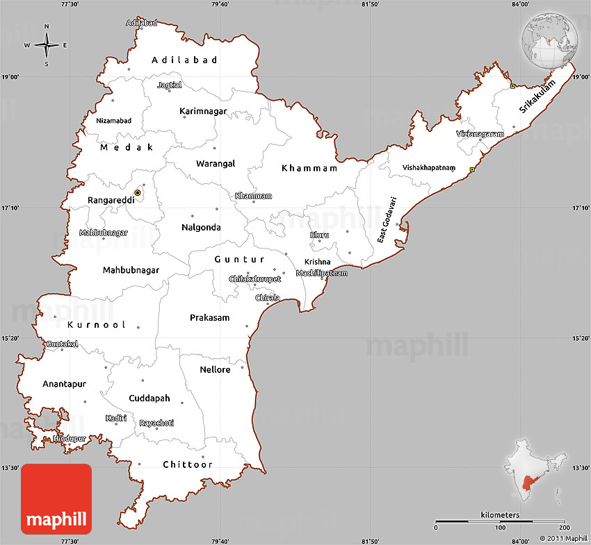 Gray Simple Map of Andhra Pradesh, cropped outside