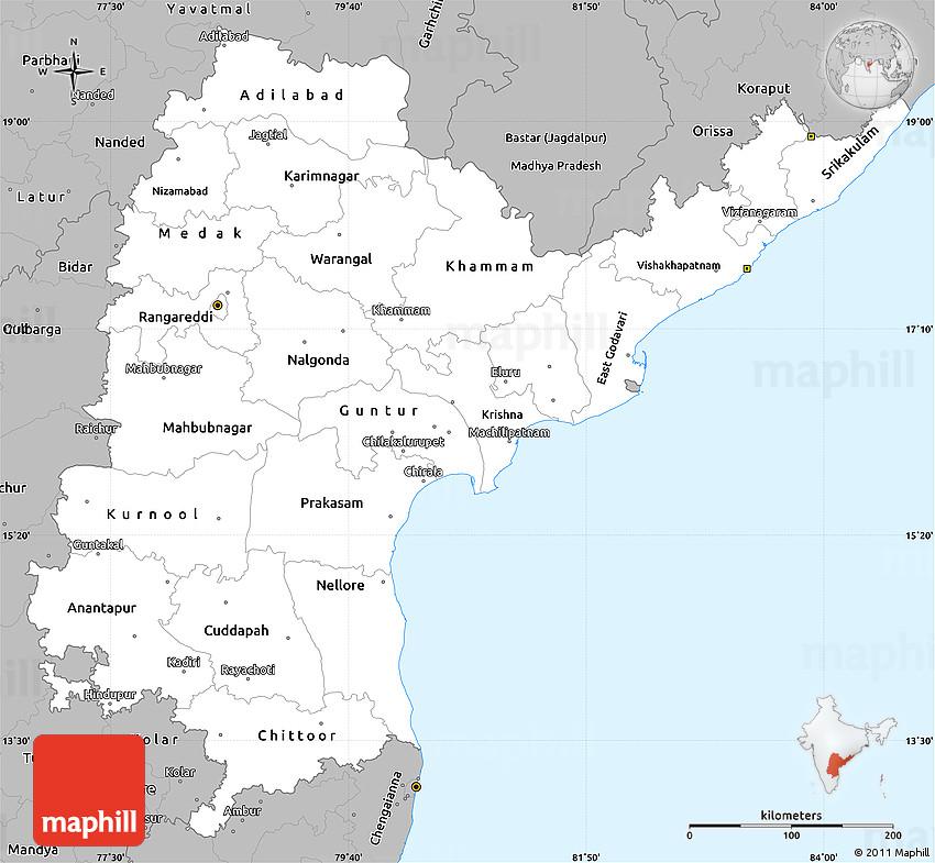 Gray Simple Map of Andhra Pradesh
