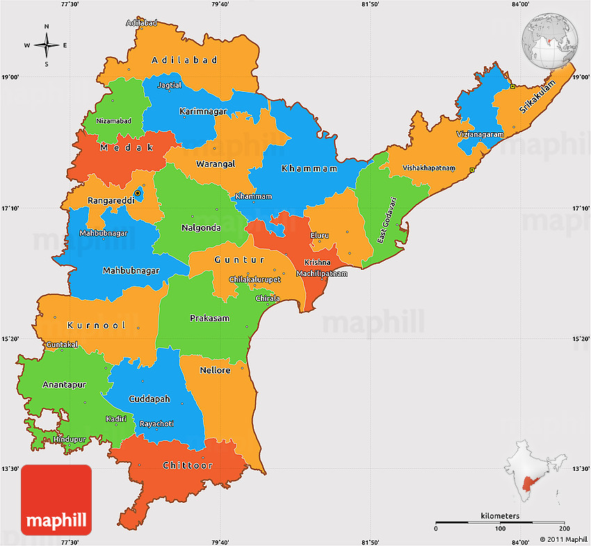 Political Simple Map of Andhra Pradesh, cropped outside on