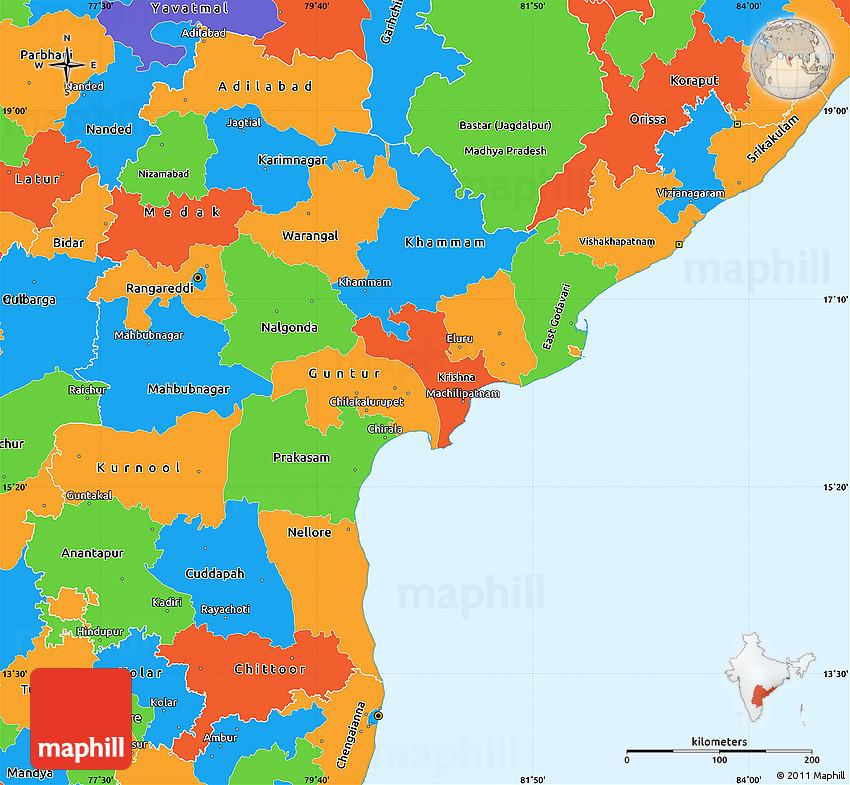 Political Simple Map of Andhra Pradesh
