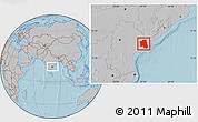 Gray Location Map of West Godavari, hill shading