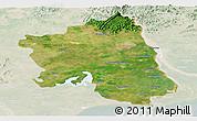 Satellite Panoramic Map of West Godavari, lighten