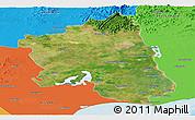 Satellite Panoramic Map of West Godavari, political outside