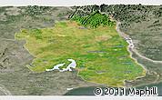 Satellite Panoramic Map of West Godavari, semi-desaturated