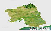 Satellite Panoramic Map of West Godavari, single color outside