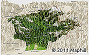 Satellite Panoramic Map of Dibang Valley (Anni), shaded relief outside