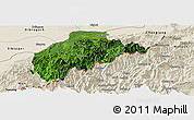 Satellite Panoramic Map of Tirap, shaded relief outside
