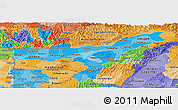 Political Shades Panoramic Map of Assam